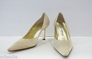 St. John John Gold Satin Heels With Rhinestones Metallics Pumps