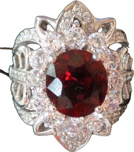 Mozambique Garnet and Zircon 925 Sterling Silver Cocktail Ring 5.5