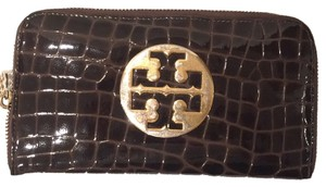 Tory Burch Tory Burch Brown Patent Leather Lsrge Wallet