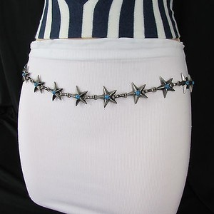 Other Women Silver Metal Skinny Fashion Stars Belt Hip Waist Turquoise Blue