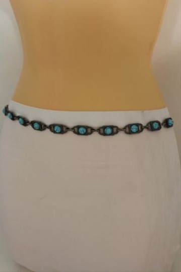 Other Women Silver Metal Skinny Narrow Belt Turquoise Blue Hip Waist