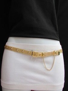 Other Women Casual Fashion Belt High Waist Hip Gold Long Mesh Thin Metal Rings