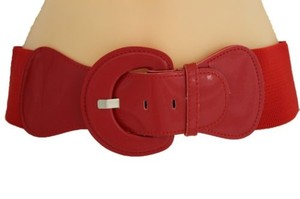 Other Women Fashion Belt Hip High Waist Red Elastic Big Buckle Plus