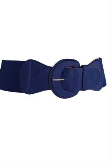 Other Women Fashion Wide Belt Hip High Waist Blue Elastic Buckle Plus