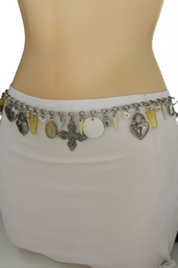 Other Women Silver Metal Skinny Fashion Belt Hip Waist Heart Lock Star Charm
