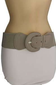 Women Fashion Belt Hip High Waist Stretch Gray Beige Buckle Plus