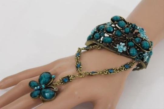 Other Women Bracelet Gold Cuff Slave Ring Hand Chain Teal Green Flowers Butterfly