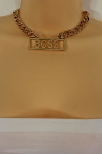Other Women Gold Short Necklace Fashion Metal Thick Chains Boss Plate Pendant