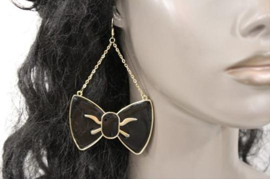 Other Women Fashion Gold Black Big Bows Metal Earrings Set Dangle Hook Chains