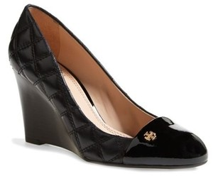 Tory Burch Claremont Quilted Wedge Cap Toe Pumps Leather He Black Platforms