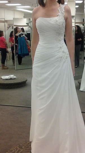 David's Bridal White Chiffon V3398: One Shoulder Gown with Floral Appl Destination Wedding Dress Size 8 (M)