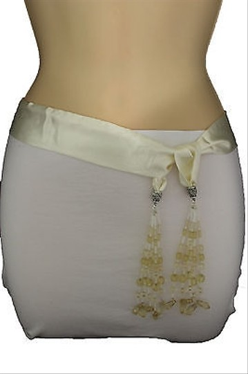 Other Women Fashion Belt White Tie Fringe Beads Neck Scarf Hip High Waist