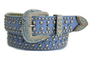 Other Western Belt Blue Faux Leather Silver Rhinestones Metal Buckle
