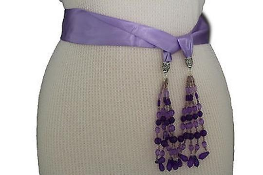 Alwaystyle4you Women Belt Light Purple Long Tie Fringes Beads Scarf Hip High Waist Image 1