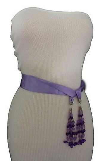 Alwaystyle4you Women Belt Light Purple Long Tie Fringes Beads Scarf Hip High Waist Image 10