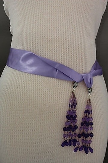 Alwaystyle4you Women Belt Light Purple Long Tie Fringes Beads Scarf Hip High Waist Image 4