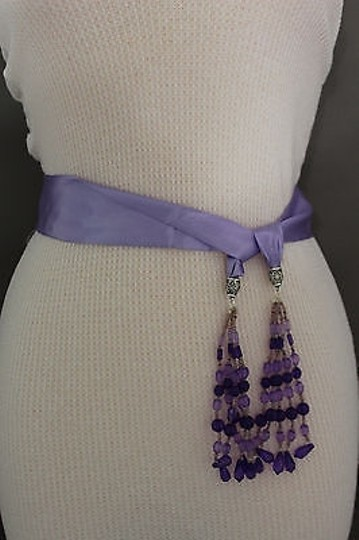 Alwaystyle4you Women Belt Light Purple Long Tie Fringes Beads Scarf Hip High Waist Image 6