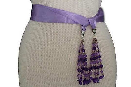 Alwaystyle4you Women Belt Light Purple Long Tie Fringes Beads Scarf Hip High Waist Image 7
