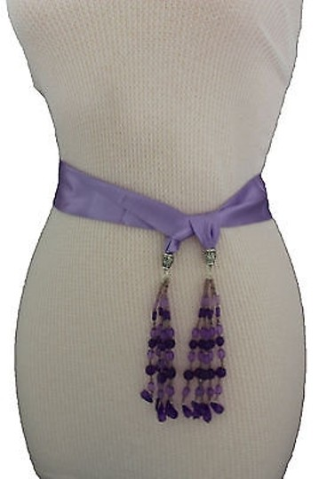 Alwaystyle4you Women Belt Light Purple Long Tie Fringes Beads Scarf Hip High Waist Image 9