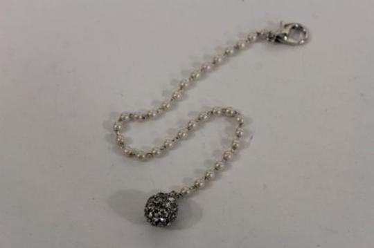 Other Women Imitation Pearl Silver Back Pendant Ball Rhinestones Necklace