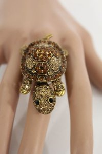 Other Women Metal Elastic Ring Fashion Big Turtle Antique Silver Gold Rhinestones