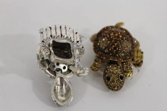 Other Women Metal Elastic Ring Turtle Antique Silver Gold Rhinestones
