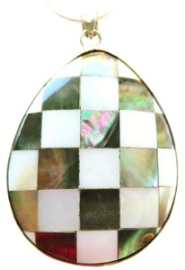 Other Large Abalone and Mother of Pearl Pendant with 925 Sterling Silver Chain Necklace