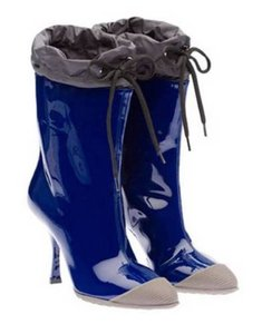 Miu Miu Womens Navy Patent Leather Sold Blue Boots
