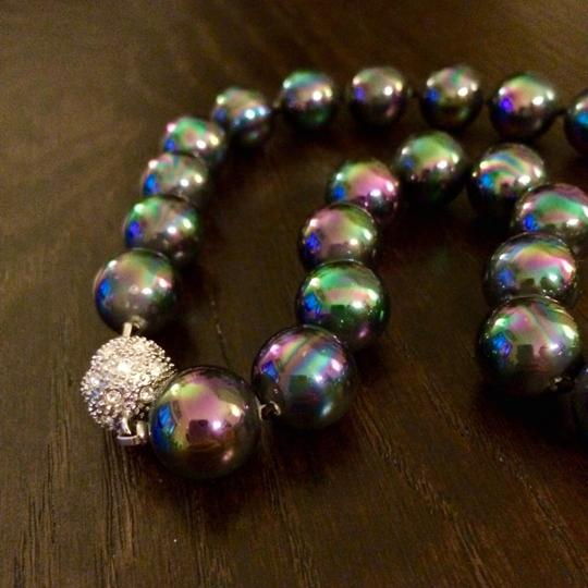 Other 12mm Genuine Rainbow Black South Sea Shell Pearl Necklace 18''