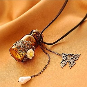Glamorous Hollow Daisy Wishing Bottle Long Sweater Chain Leather Necklace Free Shipping