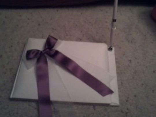 David's Bridal Purple and White Set(Guest Book Pillow Garter Bask