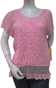Ruby Rd. Rd Blush Crocheted Top Pink