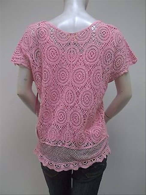Ruby Rd. Blush Crocheted Lace Shell With Tank 18143 R3 Top Pink