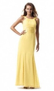 David's Bridal Yellow Chiffon F12732 Sleeveless Long Charmeus Bridesmaid/Mob Dress Size 6 (S)