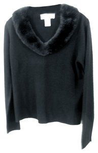 Norton McNaughton Faux Fur Collar Long Sleeve Sweater