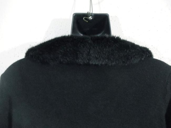 Norton McNaughton Faux Fur Collar Long Sleeve V-neck Sweater