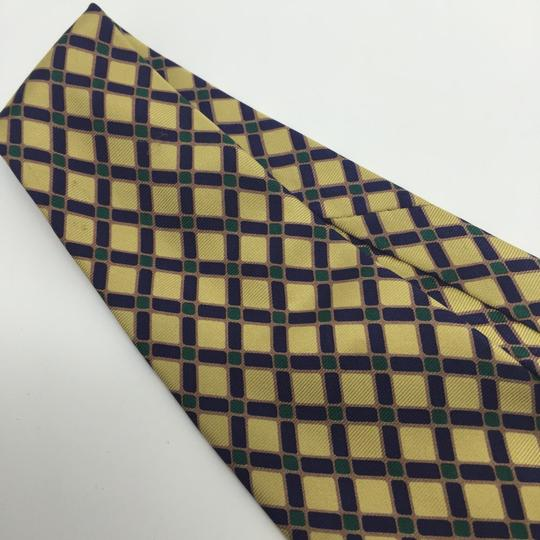 Burberry Burberry 100% Silk Check Yellow Blue Green Necktie