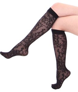 Dolce&Gabbana new DOLCE GABBANA black high socks tights stretchy lace OS