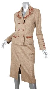 Oscar de la Renta Oscar De La Renta Womens Brown Woolsilk Tweed Blazer Pencil Skirt Suit