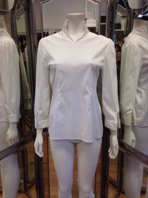 Theory Cotton Long Sleeve Top White