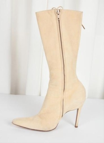 Dior Christian Womens Suede Cream Boots