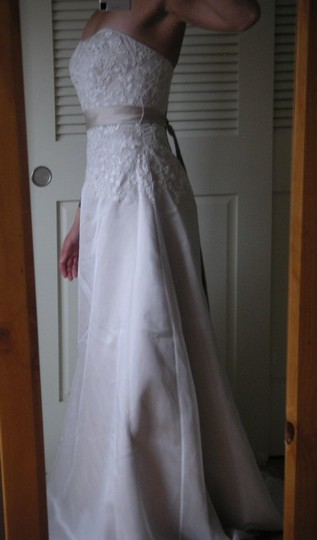 David's Bridal Champagne Organza Sas1226 Wedding Dress Size 4 (S)