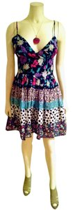 bebe short dress Navy, pink, white, teal Summer Size Small Floral Above Knee Sleeveless P1516 on Tradesy