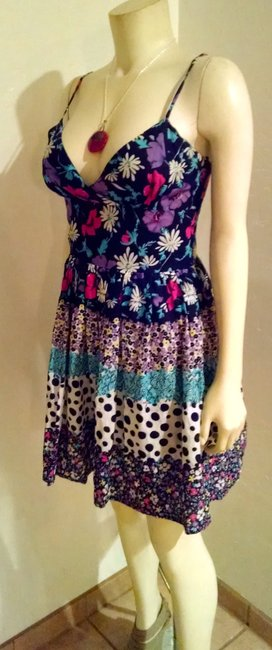bebe short dress Navy, pink, white, teal Summer Size Small Floral P1516 on Tradesy