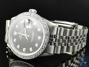 Rolex Mens Stainless Steel Rolex Datejust Jubilee Watch With 2.15ct Diamond Black Dial