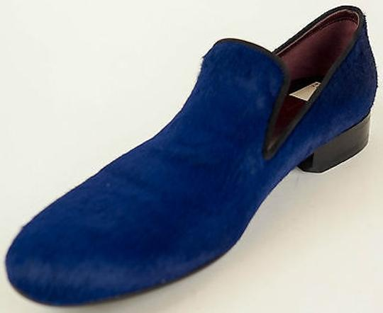 Céline Pony Hair Smoking Slippers Loafers Eu38 Royal Blue Flats