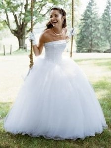 White Tulle Nt8017 Formal Wedding Dress Size 12 (L)