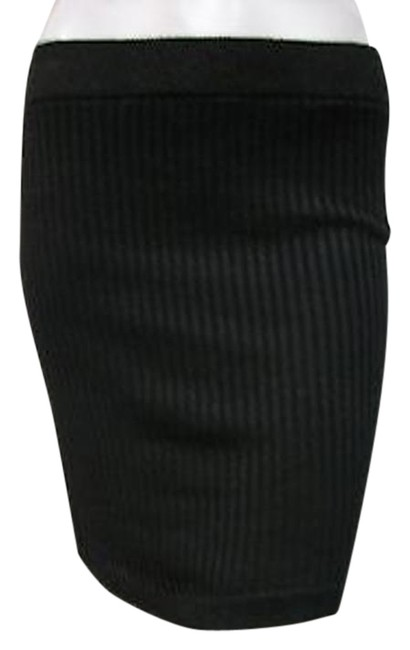 Tulle Metallic Stretch Ribbed Knit Straight Tube J1654 Skirt Black