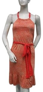 Envi Orange Dot Tiered Belted Dress