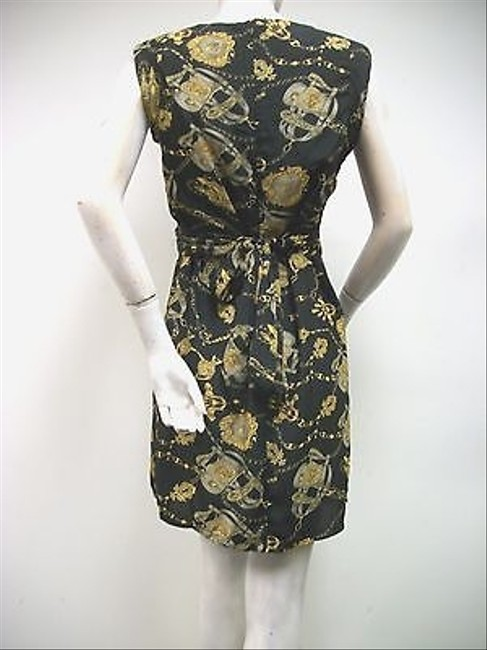 Other short dress Multi-Color Chase Black Gold Equestrian Print Sash Belted Shift on Tradesy